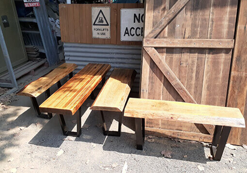 burleight second hand rustic timber table and bench